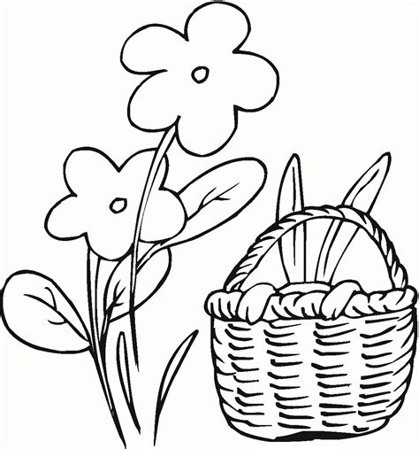 free coloring pages of easter flowers flower basket coloring page coloring home