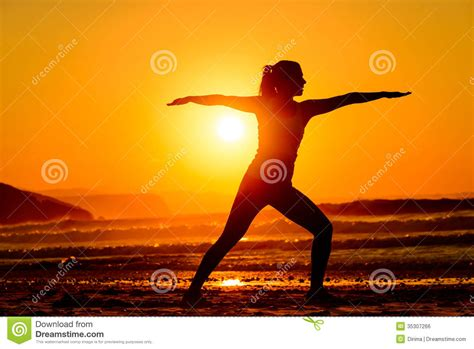 imagenes relax yoga yoga and relax on beach at sunset royalty free stock image