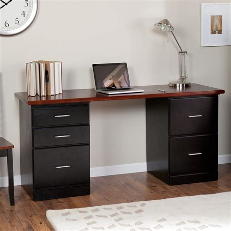 modern black desk with drawers valona modern 5 drawer desk black cherry at hayneedle
