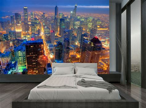 city buildings chicago skyline night wall mural photo