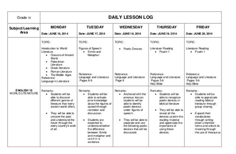daily lesson log