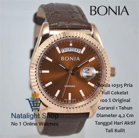jual jam tangan pria bonia  kulit kaca sapphire
