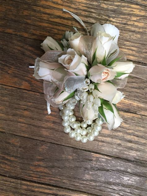 2015 prom wrist corsages white roses wrist corsage with a pearl band prom 2015