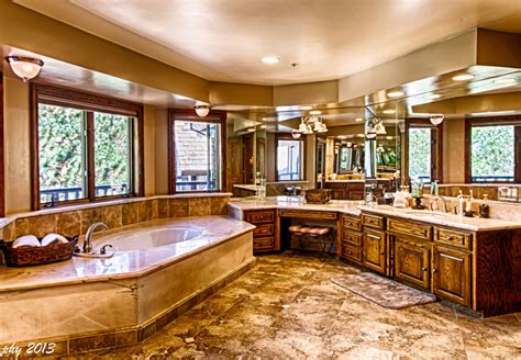 Vacation Home Kitchen Design by Master Bath With Views Edgewood Mansion At Big Bear