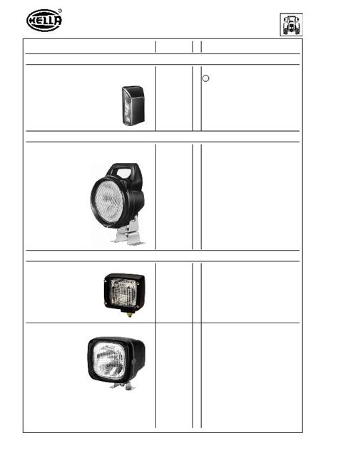Hella 8ga 002 071 261 L Incand 24v 5w 0 2a Ba15s 2 headlights signal and sundry lights for tractors page 73