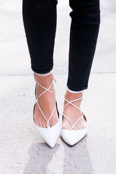 white lace flats shoes shoes white white shoes lace up flats strappy flats