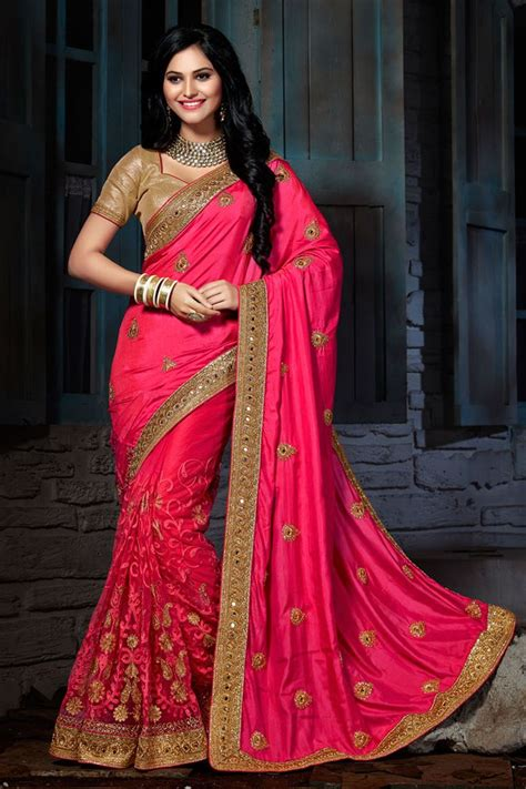 which colour blouse suits for pink saree buy pink color designer party wear crepe net saree with