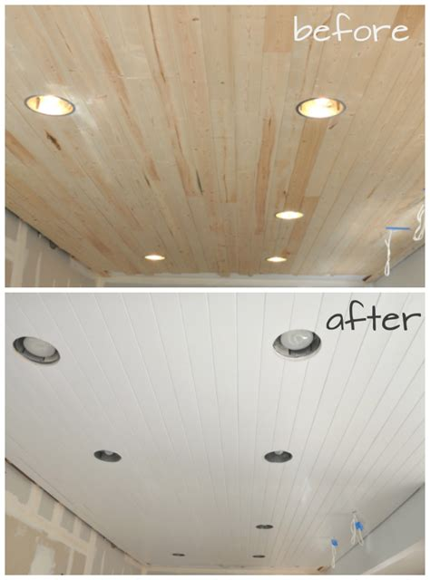 How To Paint From Ceiling by Diy How To Paint A Planked Ceiling For A Finish