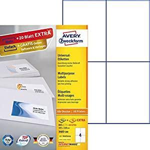 Etiketten Drucken Avery 3483 by Avery Zweckform 3483 200 Etiketten A4 800 Plus 80