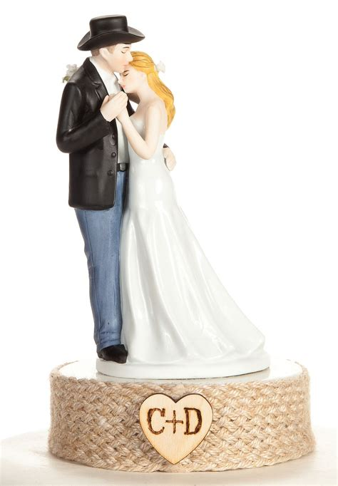 western personalized personalized western and groom wedding cake topper