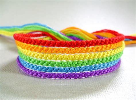 Handmade Friendship Bracelets - handmade rainbow friendship bracelet set six bright