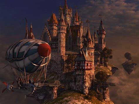 fantasy  screensavers sky citadel heavens harbor   floating sky islands