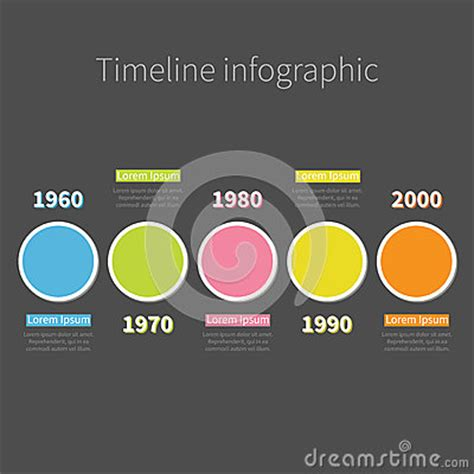 flat design text effect timeline infographic with colored round circle and text