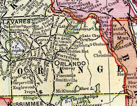 map orange county florida map of orange county florida 1899