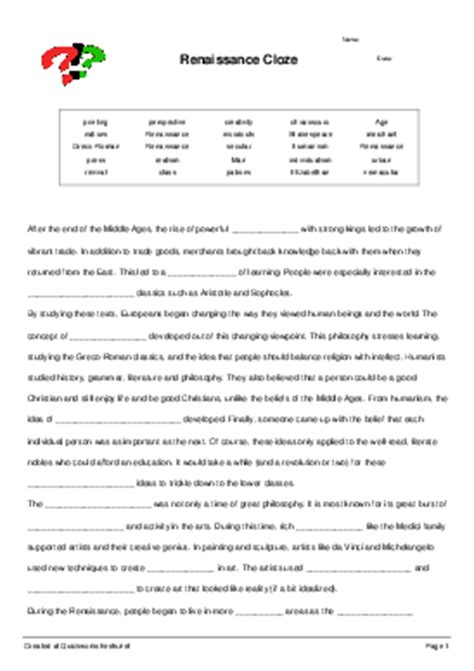 The Renaissance Worksheet Answers by Collection Of Renaissance Worksheet Cockpito