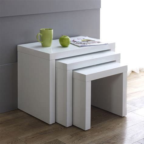 white nest of tables white high gloss nest of 3 tables contemporary coffee