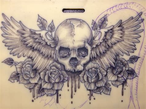 skull with wings tattoo skull wings badass realistic