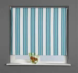 Teal Striped Curtains Patterned Thermal Blackout Roller Blind Stripe Teal
