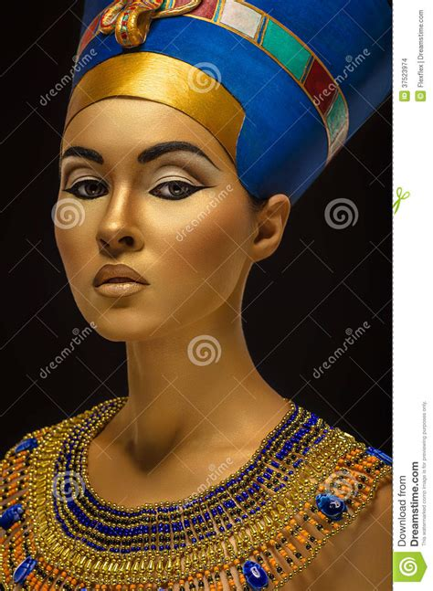 portrait of woman with golden skin in egyptian style stock