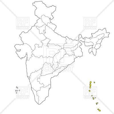 Andaman And Nicobar Outline Map by Andaman And Nicobar Islands On The Map Of India Vector Image 42740 Rfclipart
