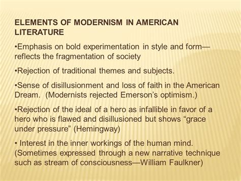themes in modernist literature usually focused on elements of modernism in american literature ppt video