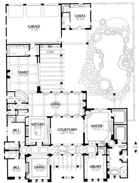 courtyard house plans plan 16386md courtyard living with casita house plans