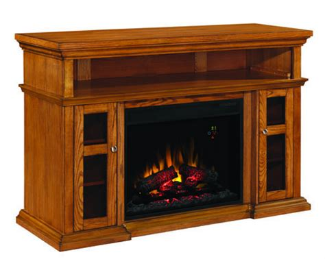 Oak Entertainment Center With Fireplace by 404 Portablefireplace