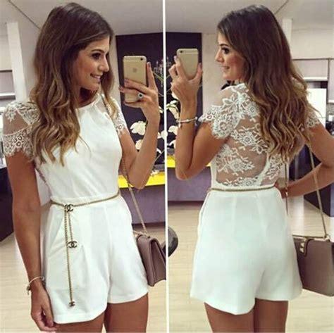 Set Top Shorts White Beige M L 18484 1 pantalones cortos mono cintur 243 n de encaje blanco