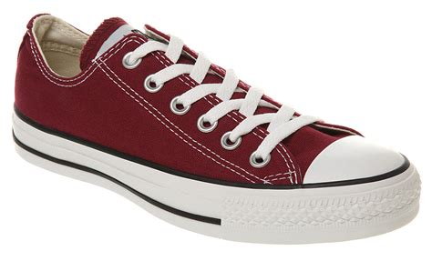 converse all ox low maroon canvas trainers shoes