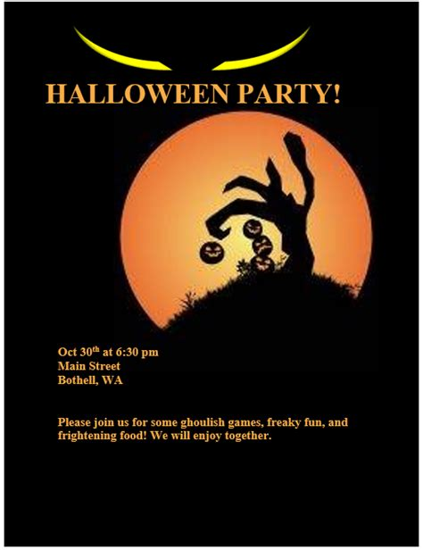 halloween party invitation flyer template printable