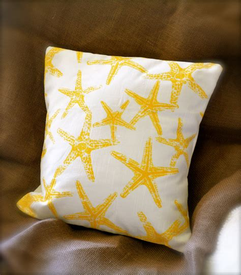 Yellow Starfish Pillow by Yellow Starfish Decor 14 X 14 Pillow By Rosebenaturals