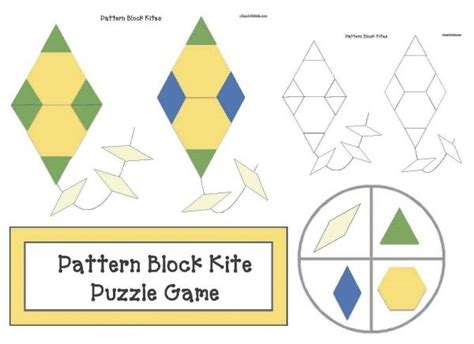 pattern block puzzles kite activities free kite themed pattern block puzzle