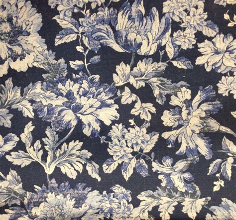 French Country Blues Floral Fabric Upholstery Fabric By The