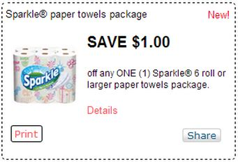 Sparkle Coupons Printable sparkle paper towels 6 big roll pack only 3 50 at fred