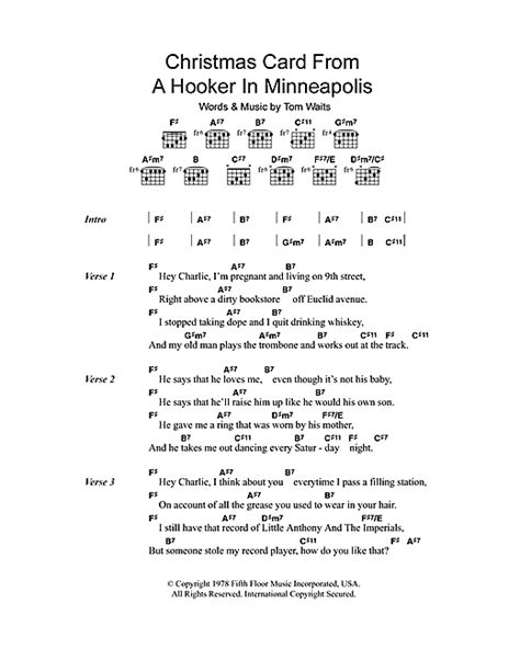 card lyrics card from a in minneapolis sheet by