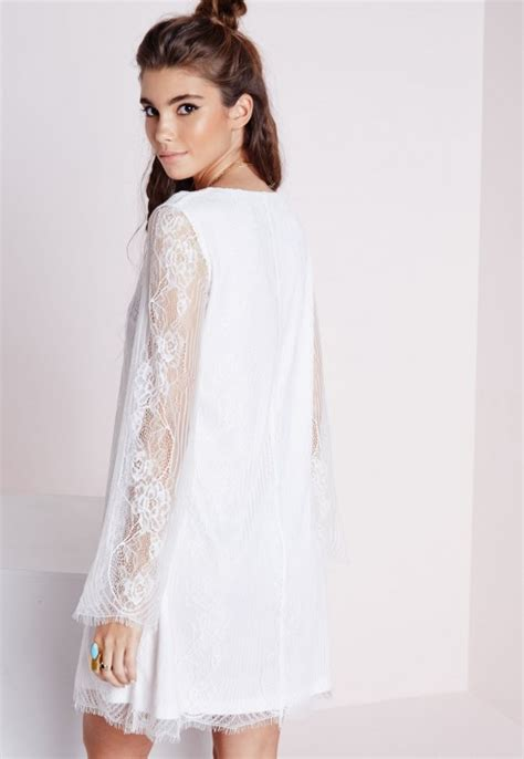 white long sleeve swing dress missguided lace overlay long sleeve swing dress white in