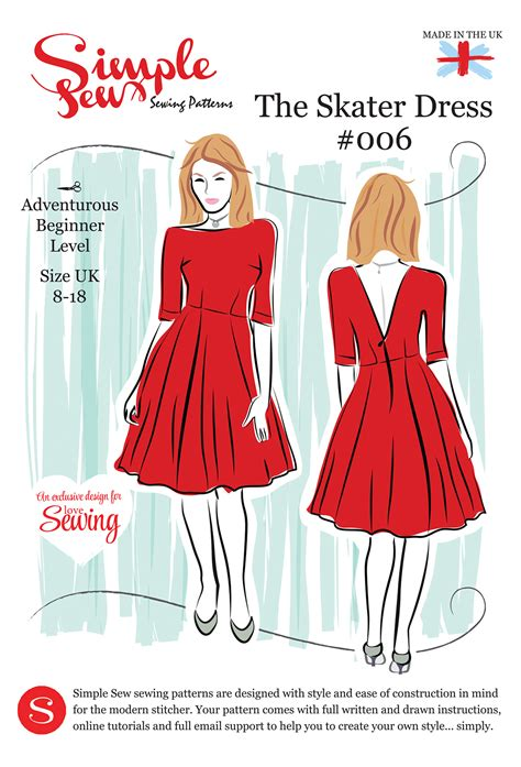 Envelope Dress Pattern | simple sew ls08 skater pattern envelope free with issue