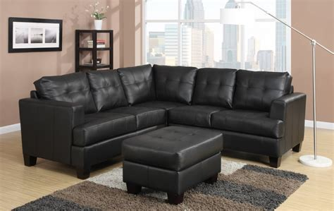 toronto tufted black leather corner sectional sofa at
