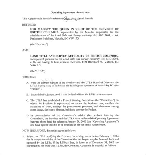 operating agreement amendment template 13 operating agreement templates sle exle