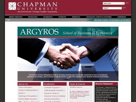 Cost Chapman Mba by Chapman George L Argyros School Of Business