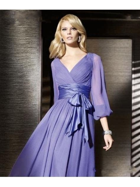 Wedding Formal Dress by Cheap Purple Sleeves Chiffon Prom Evening Formal