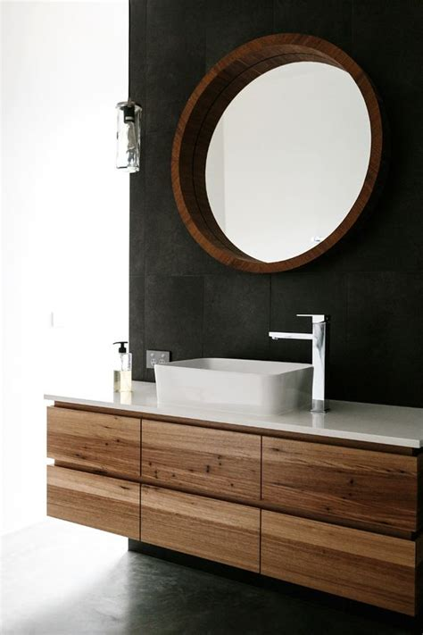 Black Wood Bathroom Vanity by Floating Reclaimed Wood Vanity And Black Bathroom Wall