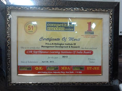 Welingkar Part Time Mba by Accolades For Distance Education Programs At Weschool