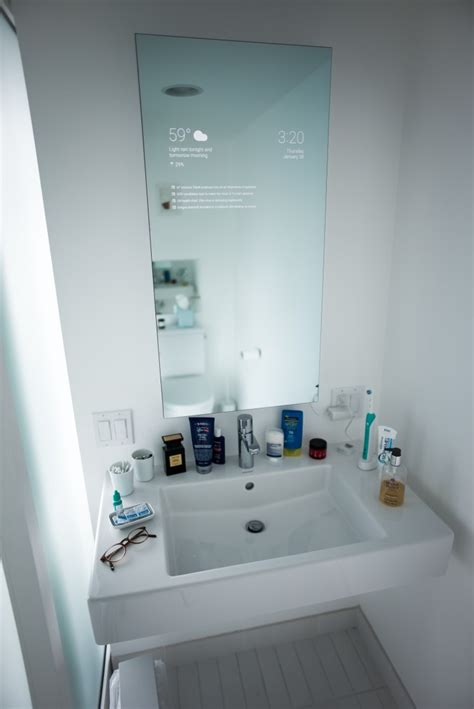 smart mirror bathroom an android powered smart bathroom mirror that gives