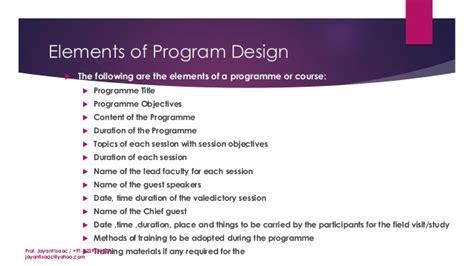 program layout for seminar 4 designing the training programs