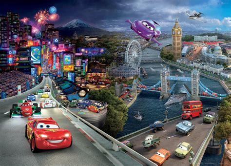 disney cars wall mural wall poster wall mural wallpaper disney pixxar cars 2 cars photo 160 cm x 115 cm 1 75 yd x 1 26 yd