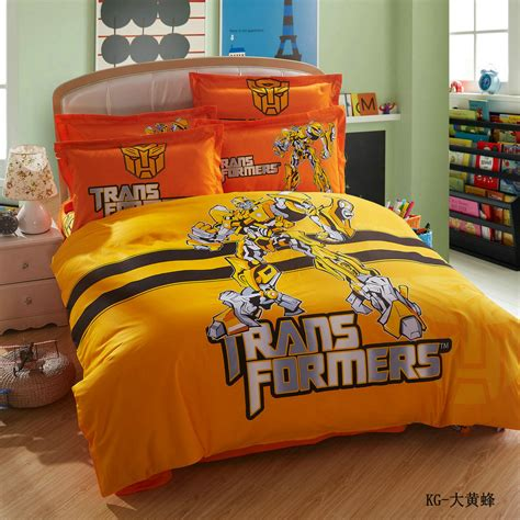 transformer bed set 100 cotton cartoon optimus prime bumblebee transformers