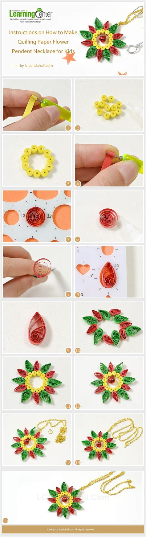 on how to make quilling paper flower pendent