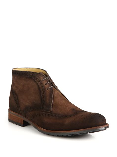 saks fifth avenue magnanni suede wingtip lace up boots in