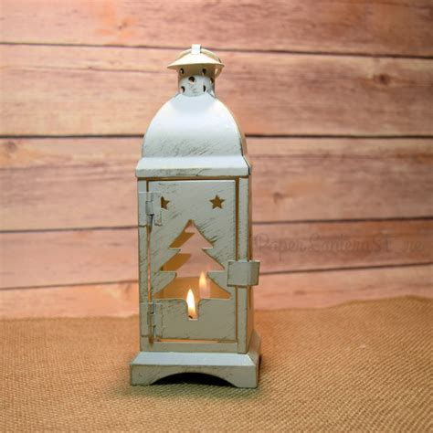 8 quot christmas tree rustic white hurricane candle lantern w